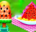 Watermelon Ice Cream And Candy Cooking
