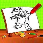 Easy Kids Coloring Dinosaur