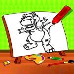 Easy Kids Coloring Dinosaur